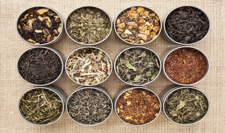 latas y variedades de tés