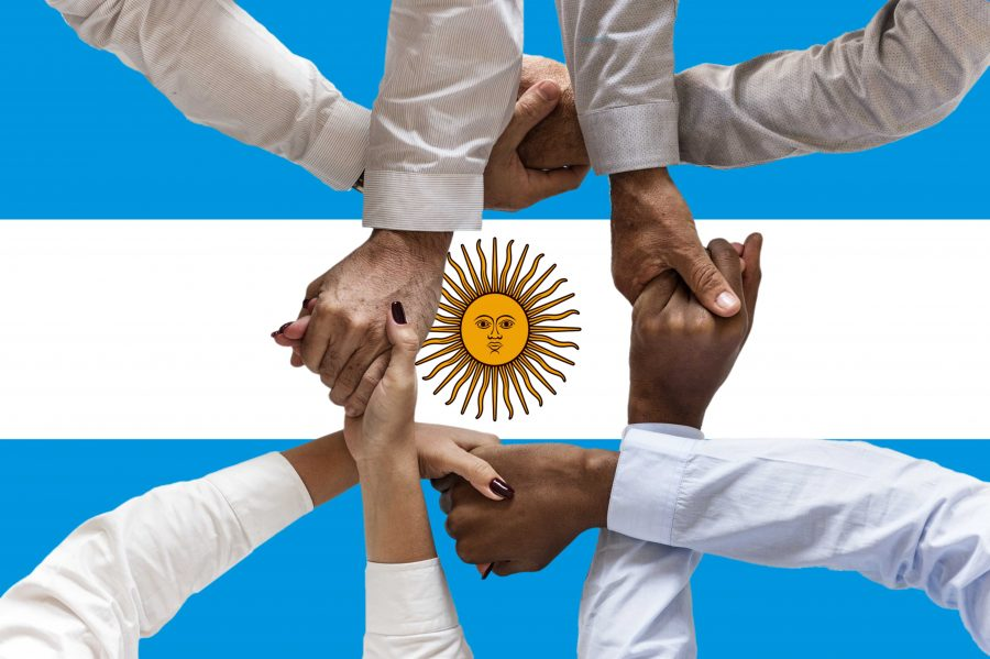 Argentina flag, intergration of a multicultural group of young people.