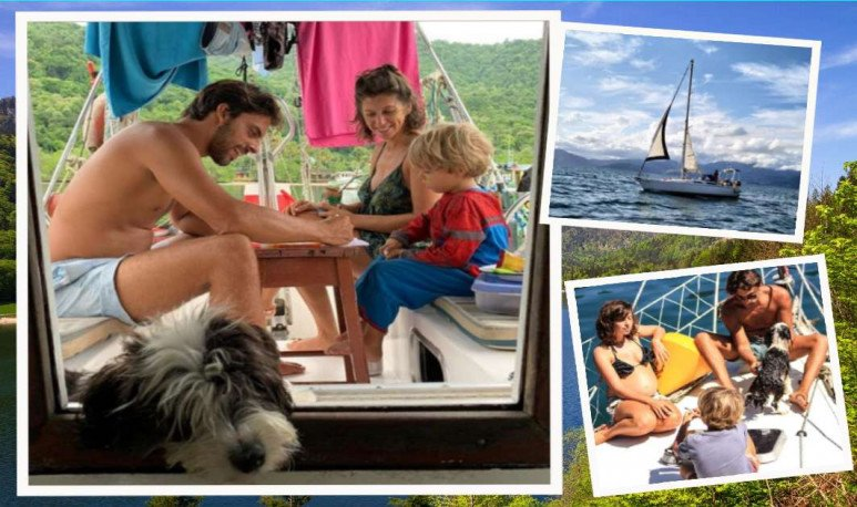 familia pasa cuarentena en el mar
