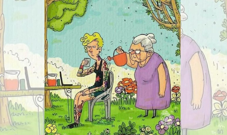 Abuela riega