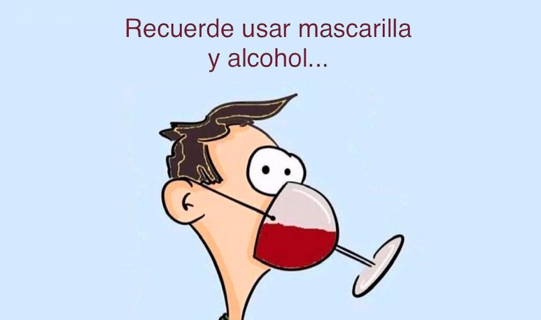 Mascarilla y alcohol